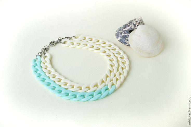 """Купить Колье-цепь """"Айвори и морская волна"""" - комбинированный, цвет слоновой кости, светло-голубой"""