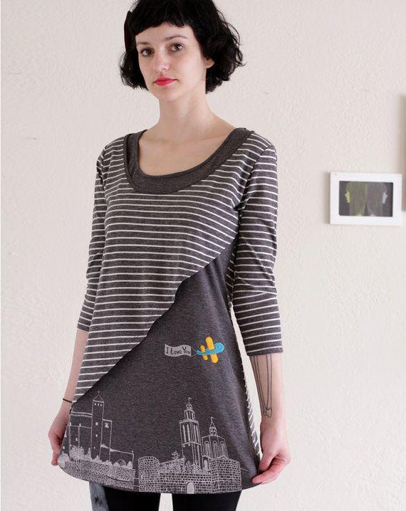 Spring fashion  Grey Stripes Dress  Handmade by Zoeslollipop