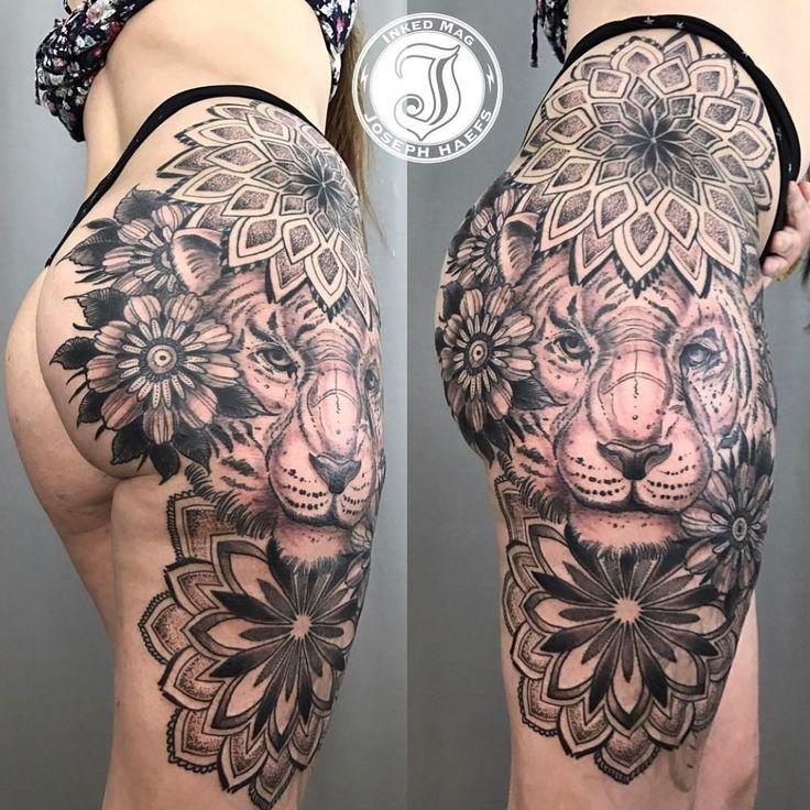 Photo by (crazy_badass_tattoos) on Instagram |  #tattooed, #blackandgreytattoo, #lines, #lion, #tiger, #flowers, #grey, #thigh, #leg, #thightattoo