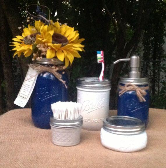 Nautical Navy Bath Accessories Mason Jar Soap Dispenser By Talona Blue