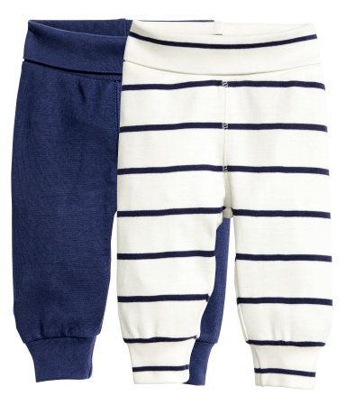 Dark blue. CONSCIOUS. Striped leggings in soft organic cotton jersey with wide…