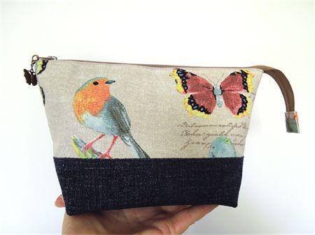 Open Wide Zippered Pouch. Butterflies & Birds. Denim and cotton.