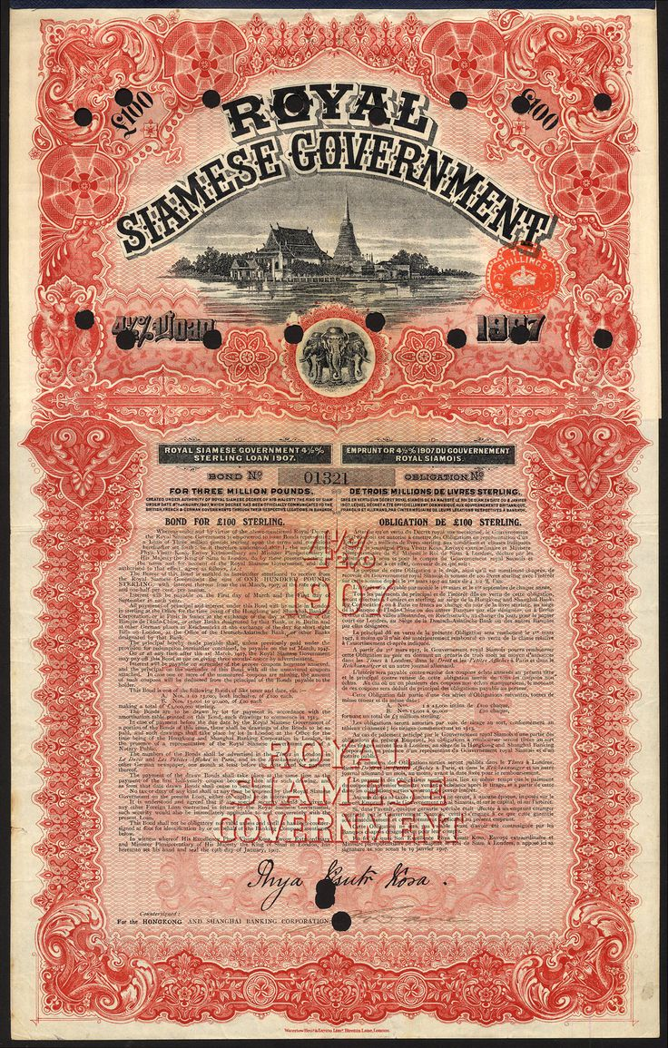 Thailand: Royal Siamese Government, 4½% Sterling Loan of 1907, bond for £100, issued by the Hongkong and Shanghai Banking Corp