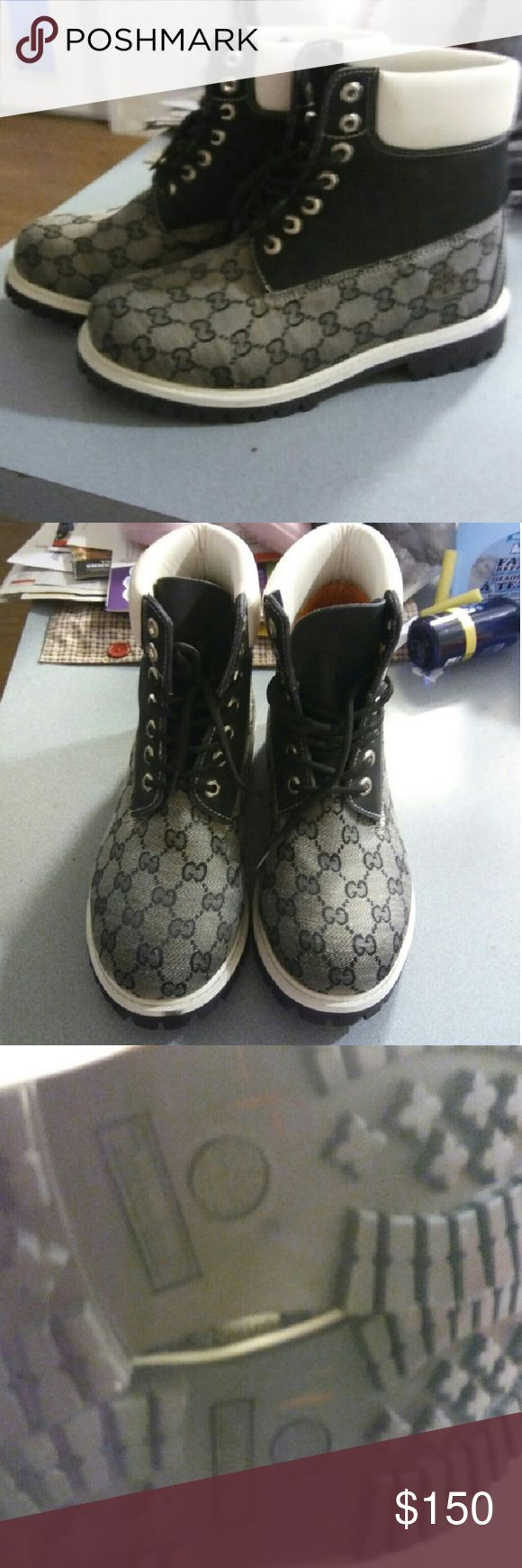 Mens Timberland with Gucci Fabric boots. Sz 8 These were given to me. I don't think these are authentic. I don't know any thing about timberlands. I have compared these with my other timberland mens boots. They don't feel the same. They look alike. But not the same. These are in like new condition. No signs of wear. No scuffing.   Make offer keeping in mind authenticity. Marked high to save on shipping.   These will fit a ladies 10. Timberland Shoes Ankle Boots & Booties