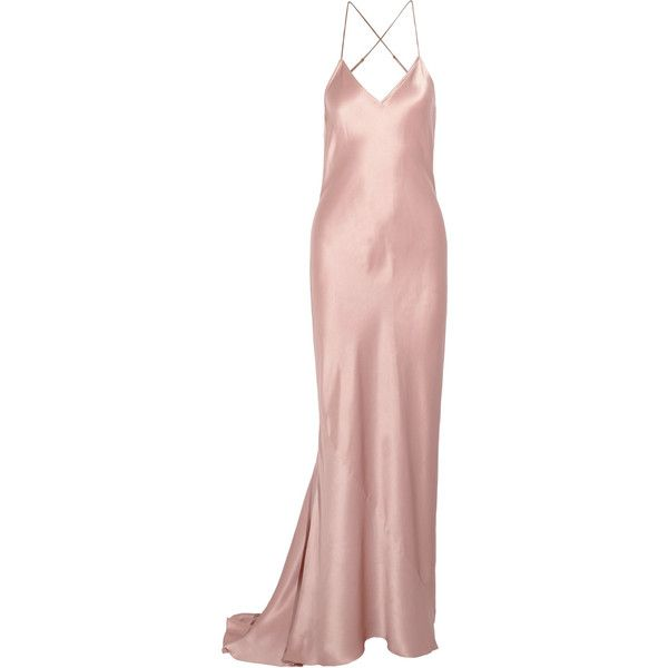 Olivia von Halle Perminova silk-satin nightdress ($655) ❤ liked on Polyvore featuring intimates, sleepwear, nightgowns, olivia von halle and blush