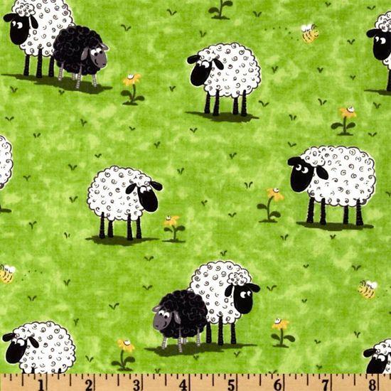 Lewe the Ewe Fabric SB Daisy Munching Black White Sheep Lambs Green Grass Spring