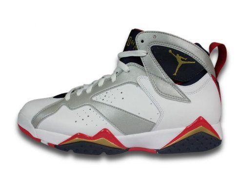 7dc015c4dbf27 Nike Air Jordan 7 White Silver Navy Mens Basketball Shoes