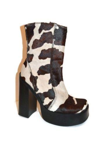 Vintage Steve Madden Boots 7 Animal Print Platform Pony Hair Western Costume Cow | eBay