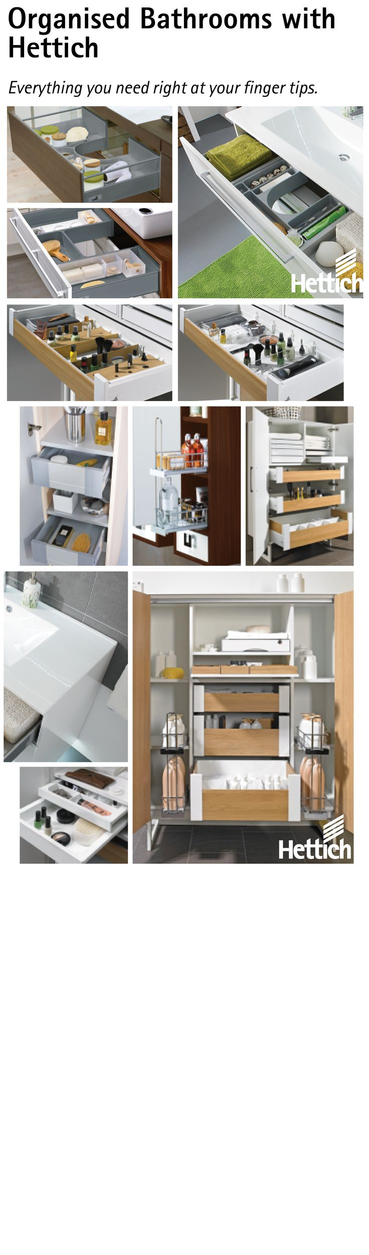 Everything you need for an organised bathroom. Install Hettich drawers with up to five different organisation trays and endless personalisation! Click the pin for more information! #organization #drawers