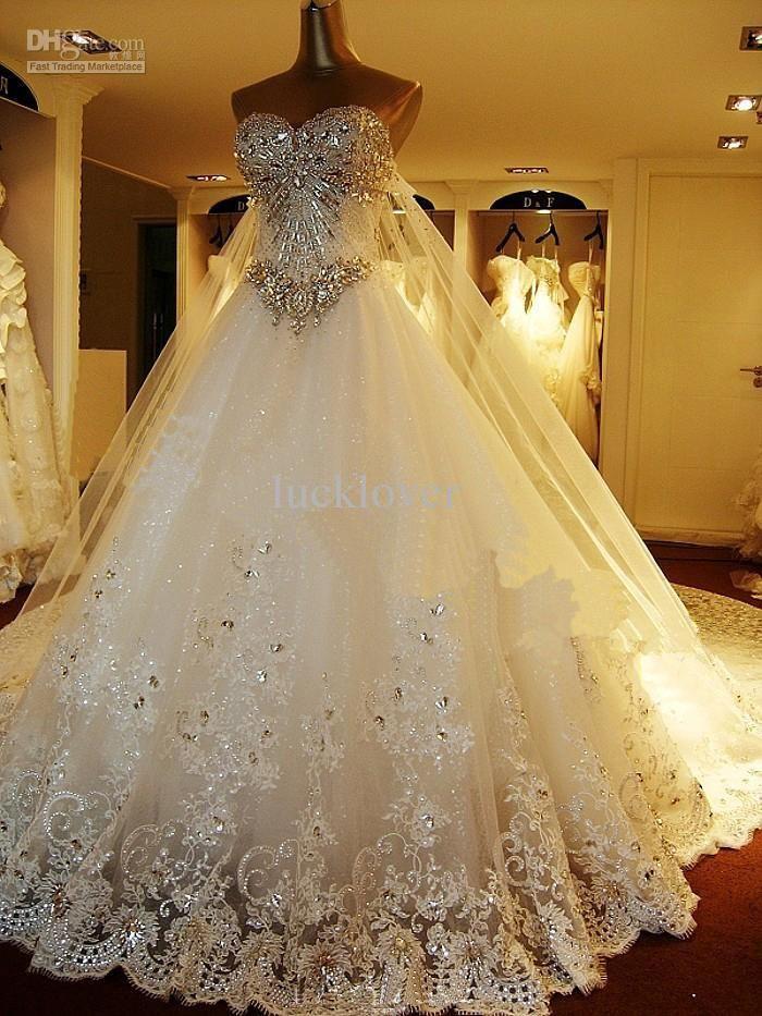 2014 Newest Luxury bride dress Sweetheart Swarovski crystals Applique Bead cathedral wedding dresses