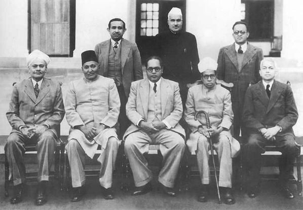 Dr Ambedkar with Constitution Drafting Committee Members