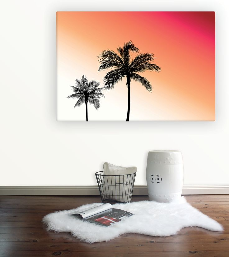 LA Palms Canvas from Wallstudio - iconic palm tress against a red and orange sunset sky. Summer, Beach and coastal wall art canvas.