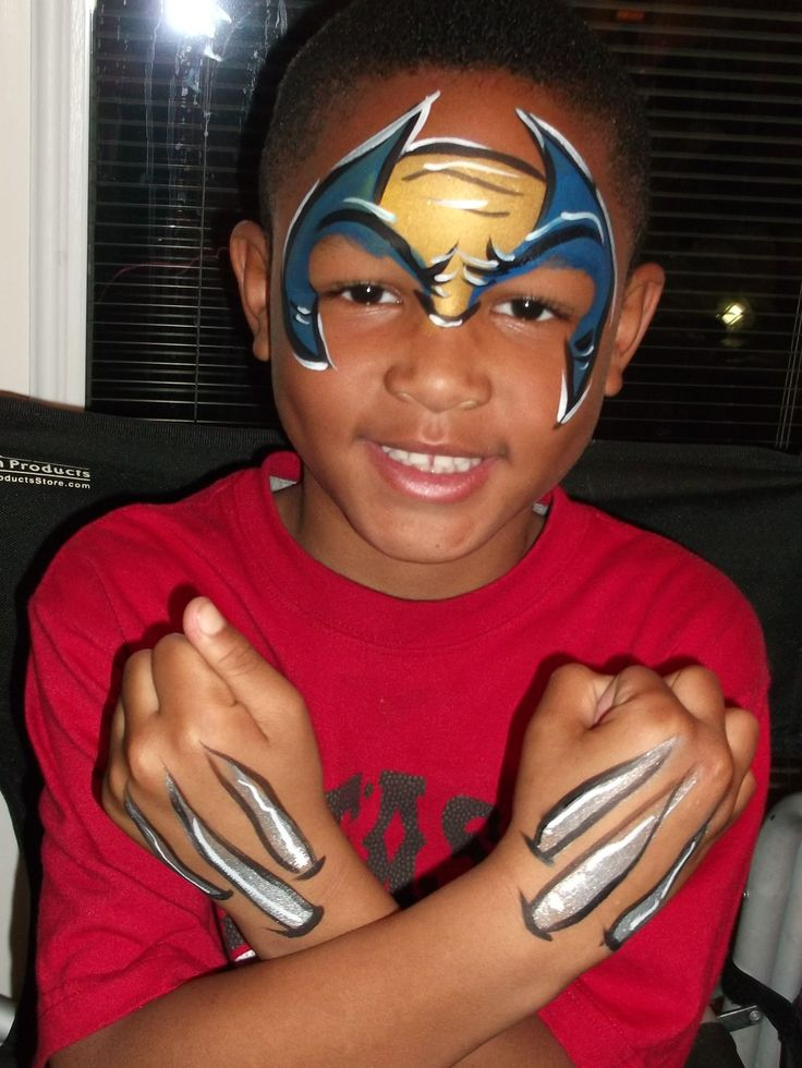 Wolverine Face Paint-love that they put the wrist things, whatever they are