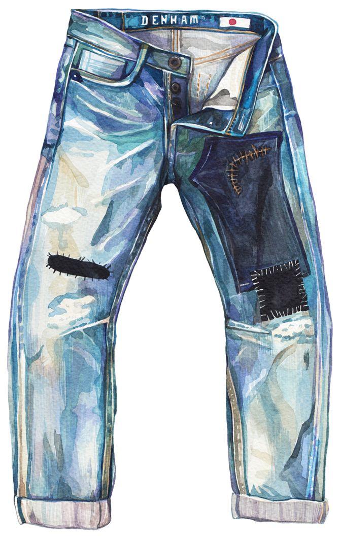 Нарисованные картинки джинсы