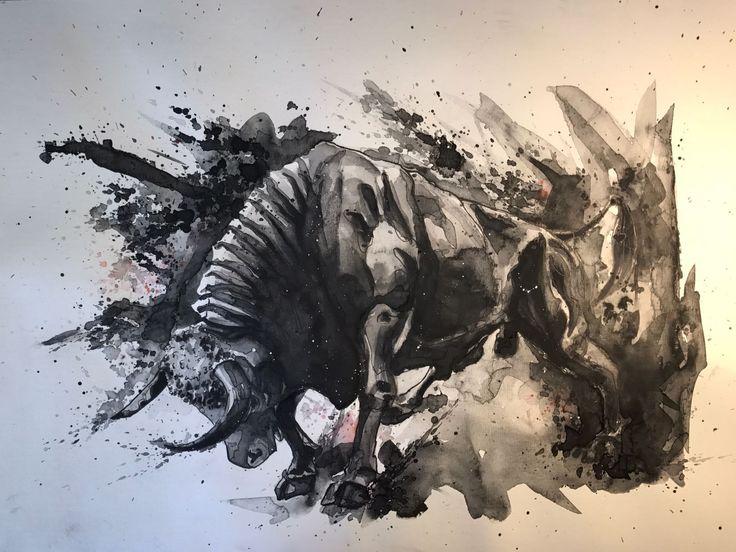 Amazing Stier Bull A Aquarell Sketch Zeichnung