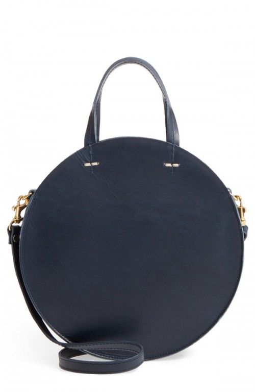 Clare+V+Petite+Alistair+Leather+Circular+Crossbody+Bag+Blue