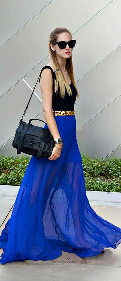 Street style - I love this so much: blue maxi skirt, great belt, great hair