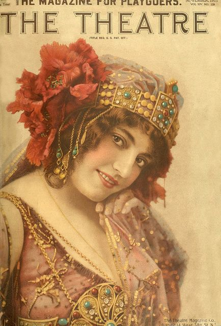 An enchantingly beautiful cover of The Theatre magazine from 1911. #magazine #theater #theatre #vintage #antique #Edwardian #woman #costume #beautiful