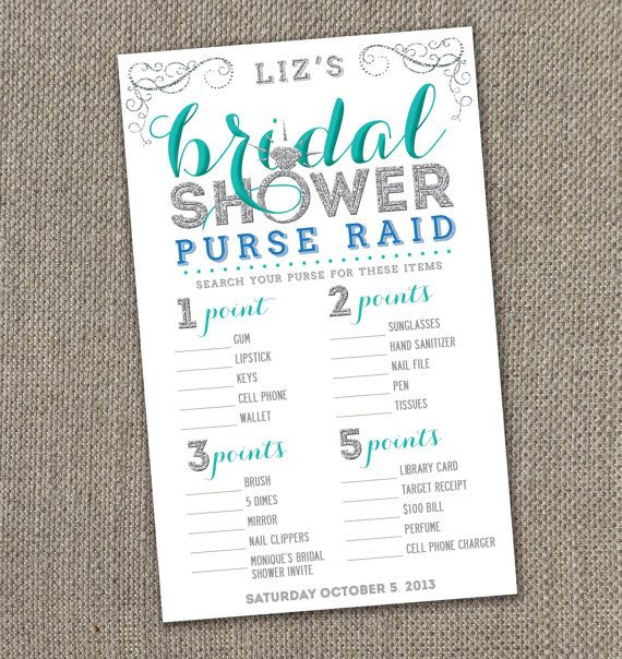 Bling Bridal Shower. Matching Bridal Shower Purse Raid. DIY. Modern Bridal Shower Invite. Sparkle Bridal Shower.