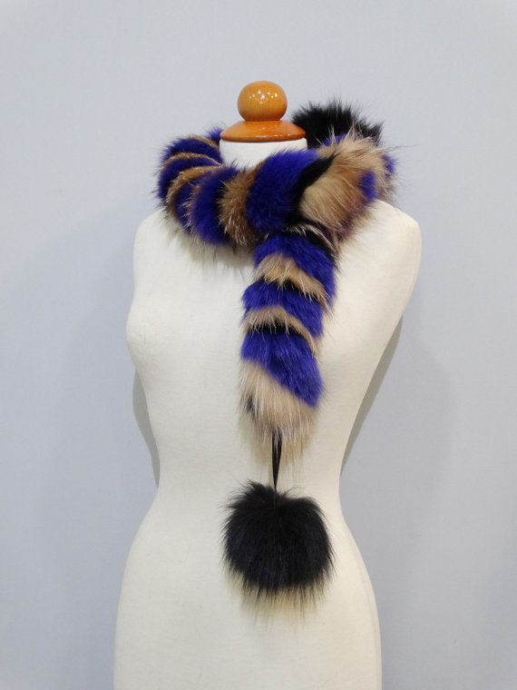 Real fox fur scarfFur pom pom scarfReal fur by FilimegasFurs