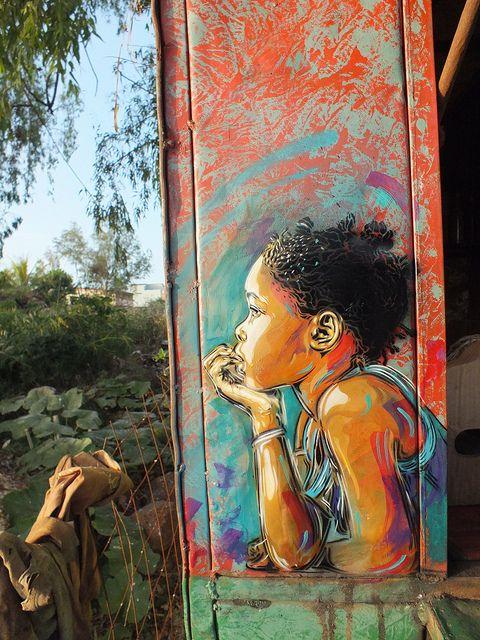 My gosh, I love this artist… Mbour (Sénégal) // C215, via Flickr #streetart #stencil