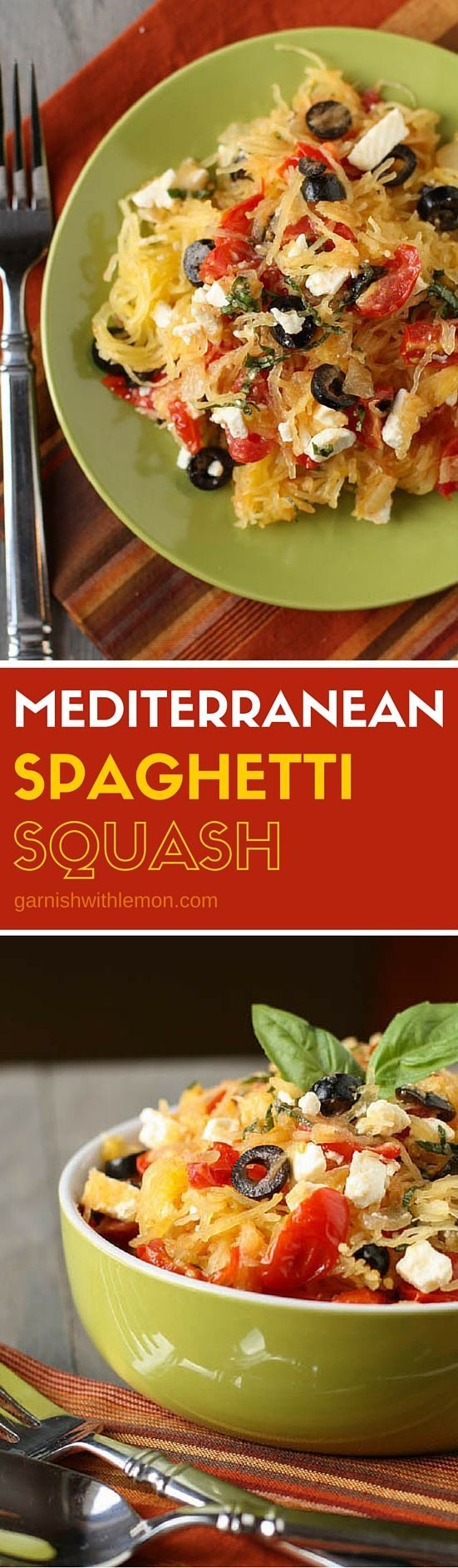 Looking for Meatless Monday dinner recipes? This baked Mediterranean Spaghetti Squash is so fresh and filling you won't miss the meat!