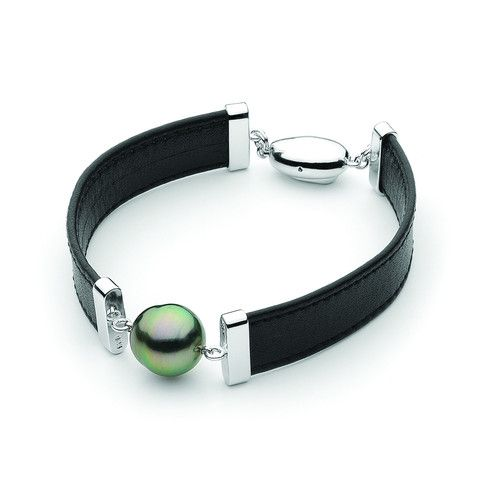 Ikecho Pearls: Tahitian with black leather Bracelet 19cm Sterling Silv - For the Love of Gold