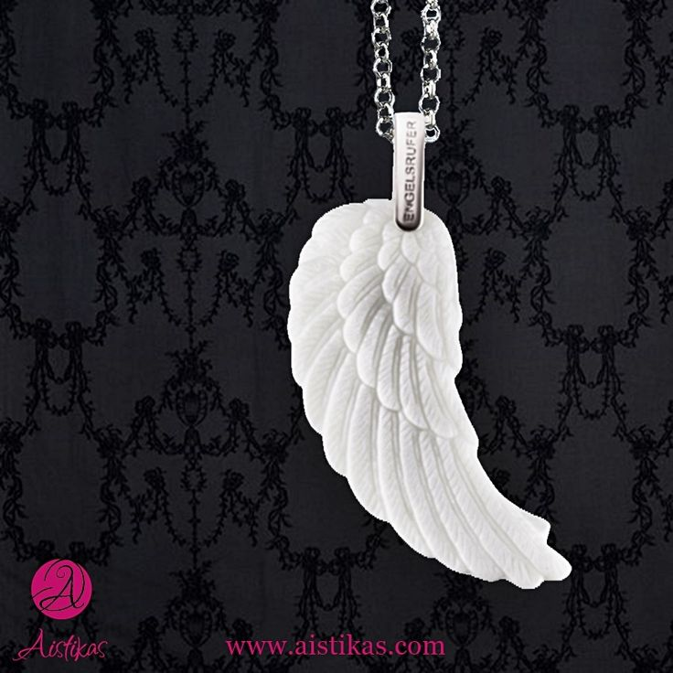 Angel cheramics wing pendant. Large pendant made of ceramic and rhodium plated 925 sterling silver. Rhodium plated surface: enhanced wearing comfort and protection against tarnishing. Size without bail: approx. 48mm