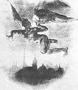 """New artwork for sale! - """" Mephistopheles Over Wittenberg From Goethe Faust 1839 by Delacroix Eugene """" - http://ift.tt/2AjohLF"""