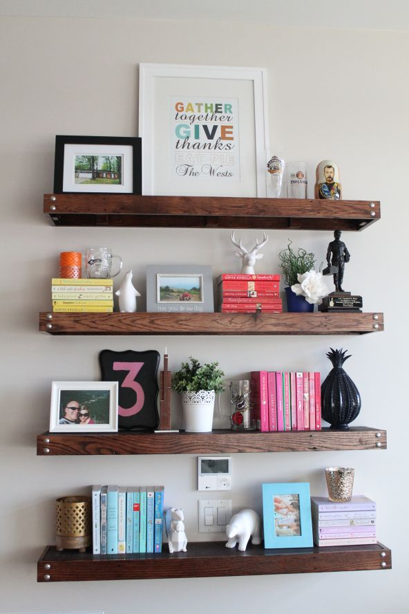 Diy floating shelves made from old pallets crafty for Pallet floating shelves