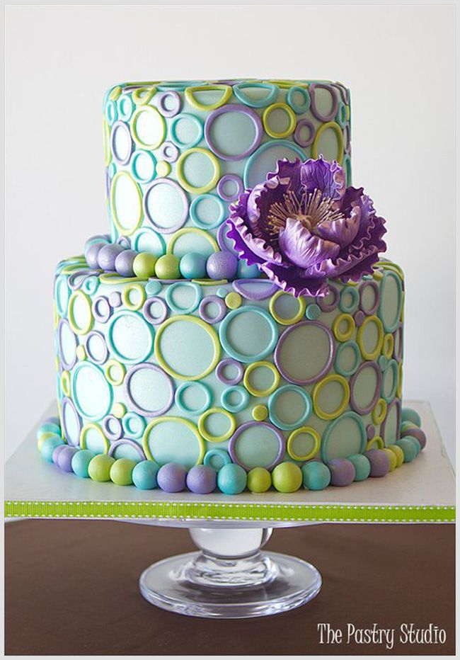 A Retro Chic Teal,Purple and Lime Green Sweet 16 Celebration Cake by The Pastry Studio: Daytona Beach,Fl