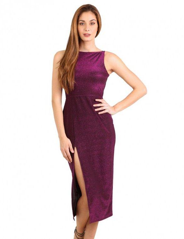 Μεταλλικό εφαρμοστό φόρεμα με σκίσιμο - Ροζ/Μωβ & Μεταλλικό/Γυαλιστερό