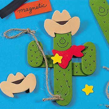 Wooden Western Cactus Magnet Craft Kits