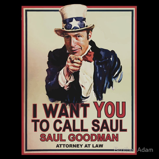 """You Better Call Saul"" T-Shirts by Brother Adam. For all you fans of Saul Goodman from Breaking Bad 