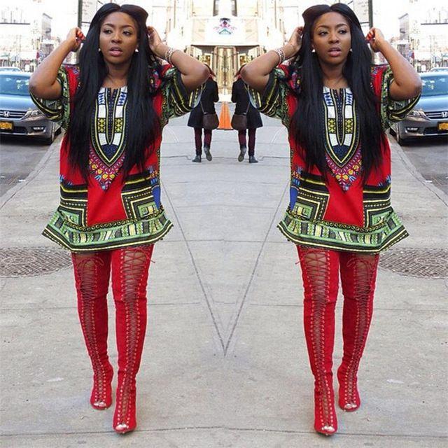 Dayanıklı Moda yaz elbise Etnik Desen Kadın Geleneksel Afrika Baskı Elbise Rahat Düz Diz Üstü Baskı Mini Elbiseler