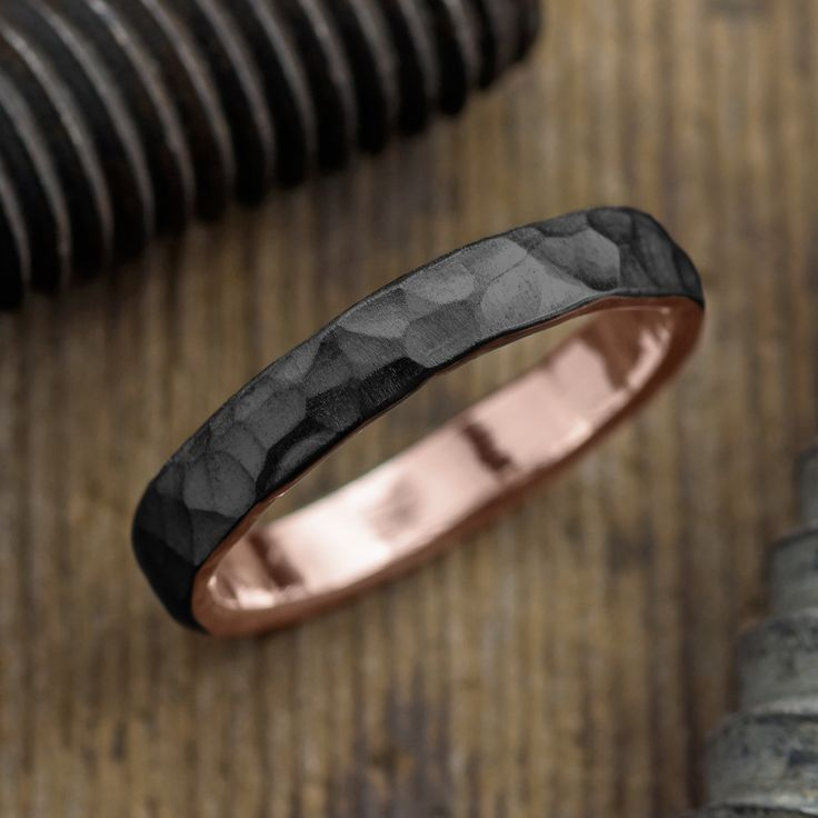 4mm 14k Rose Gold Mens Wedding Band, Hammered Matte Rhodium