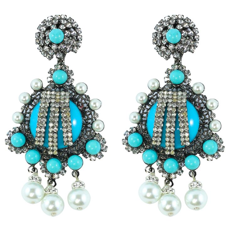 Signed Lawrence VRBA Statement Earrings - Turquoise / Faux Pearl