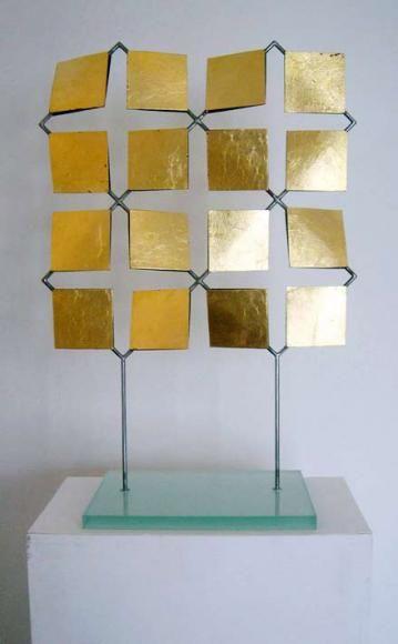 Patrick Scott Sculpture with 23.5 carat gold applied.