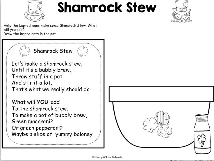 Love this St. Patrick's Day poem - students draw the ingredients for a shamrock stew. Take it to the next level by encouraging your students to write the recipe!