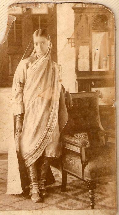 Vintage photo of woman in salwar kameez; note the modest dupatta drape