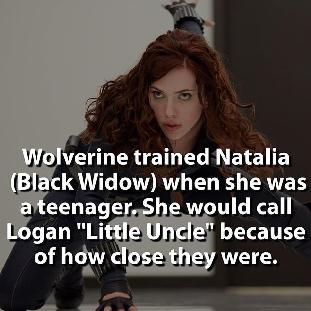 All you real fans know that her name is really Natalia right? I do love #wolvie you know hes my favorite.  #regram or #repost #awesome fact from @marvelousfacts cool  Wolverine in the MCU would be epic! | | #comics #blackwidow #wolverine #marvel #civilwar #xmen #hero #villain #marvelcomics | No I didnt mess the name up. Its Natalia. | @scarlettjohanssononline  #uncannyxmen #scarlettjohansson #superheroencyclopedia by superheroencyclopedia.com