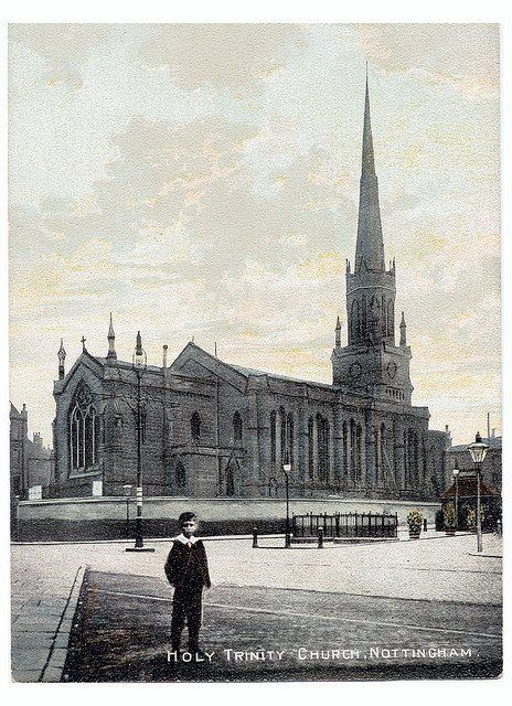 Holy Trinity Church, Nottingham, around 1900. The church was demolished in 1958 and the Trinity Square site was used for a multi-storey car park until 2006.