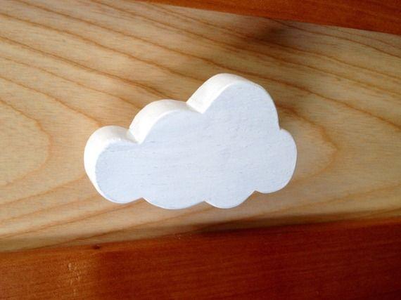 """Boutons de tiroir, placard ou patere motif """"Nuage"""" bois naturel peint blanc"""