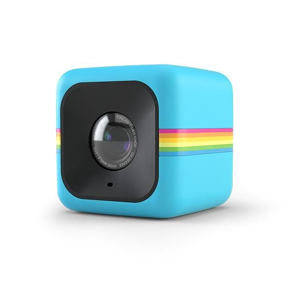 Polaroid Cube. Designed to take videos and pictures on the go, it records HD 1080p video or 6MP still photos. A built in high capacity battery, records up to 90 minutes. Weatherproof and water resistant, the Cube comes in a variety of colors: black, red and blue. Accessories sold separately. Records on a Micro SD card, not included.