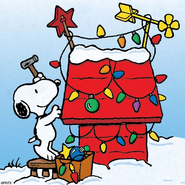 Snoopy - Christmas lights on doghouse - 74.8KB