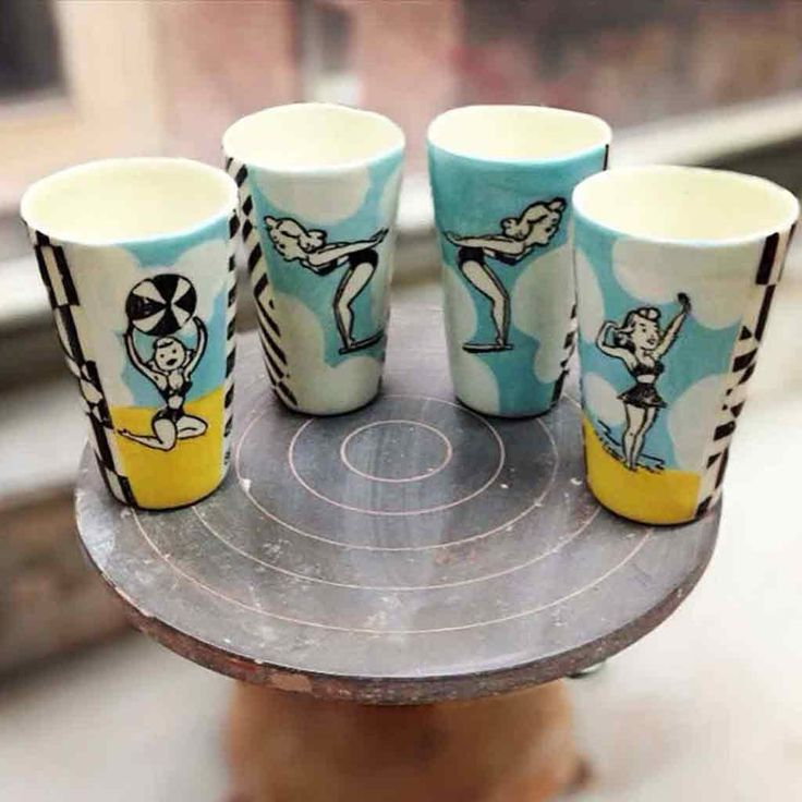 Bathing Beauty Ceramic Large Cup - Blue