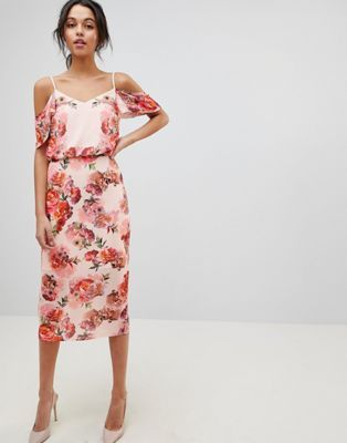 11071d2f2738 Oasis Floral Print Cold Shoulder Midi Dress | wear me :) | Floral ...