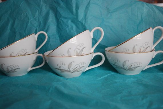 Kaysons Fine China - Golden Rhapsody - 6 Vintage Teacups