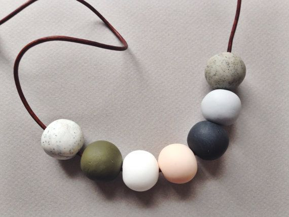 Contemporary beaded necklace  Polymer clay beads  by MarloweBeads