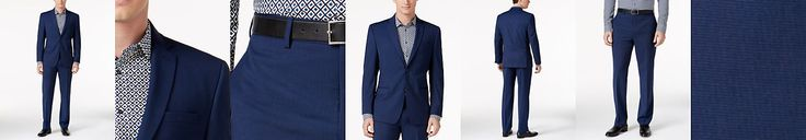 Marc New York by Andrew Marc Men's Classic-Fit Blue Mini-Check Suit
